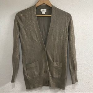 Loft Cardigan with Glittery Gold